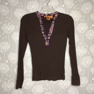 Tory Burch Shirt Size Small Brown Ribbed Thermal